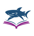 shark book logo design isolated template vector image vector image
