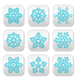 Snowflakes winter blue decoration buttons set vector image vector image