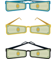sunglasses with dollars vector image