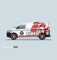 tire center delivery van template with advertise vector image vector image