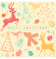 Vintage christmas deer pattern card vector | Price: 1 Credit (USD $1)