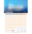 wall calendar planner for 2018 year design print vector image vector image
