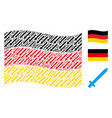 waving german flag collage of sword items vector image vector image