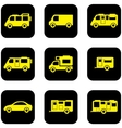 yellow transport set on black icons vector image vector image