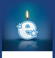 Candle letter e with flame vector image