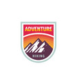 adventure mountain hiking - concept badge design vector image vector image