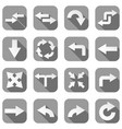 arrow icons set of gray square icons with white vector image vector image