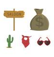 bag of money saloon cowboy kerchief cactus vector image vector image