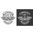 biker emblem with wings vector image vector image