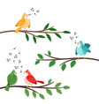 bird songs singing birds friends on tree branches vector image vector image