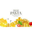 border with different realistic pasta types vector image