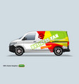 business van delivery van template with advertise vector image vector image