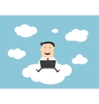 businessman sitting on a cloud with notebook vector image