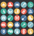 camping icons set on color circles black vector image vector image