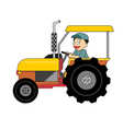Cartoon farmer driving colorful tractor vector image vector image