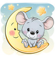 cartoon mouse is sitting on moon vector image vector image