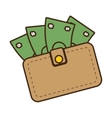 cartoon wallet bill money cash dollar vector image vector image