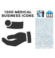 cash payment hand icon with 1300 medical business vector image vector image