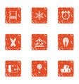 childlike competitive icons set grunge style vector image vector image