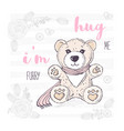 cute hand drawn teddy bear with scarf valentines vector image vector image
