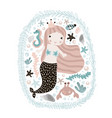 cute with mermaidseahorse crab and vector image vector image