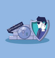 data privacy with shield vector image vector image