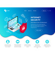 data protection landing page blue icon vector image vector image