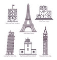 european landmarks with towers in thin line vector image