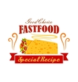 Fast food vegetable and meat burrito roll emblem vector image vector image