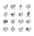 fruits icons black vector image