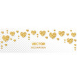 golden hearts frame border glitter vector image