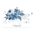 hand drawn beautiful blue flowers blossom