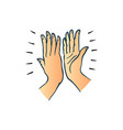 hand gesture of two people giving each other high vector image vector image