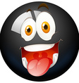 Happy face on black ball vector image