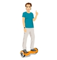 happy young man riding gyroscooter vector image