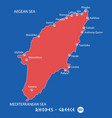 island of rhodes in greece red map vector image vector image