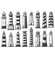 lighthouse marine beacons icons vector image