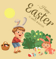 little boy smile hunting decorative chocolate egg vector image vector image