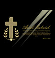 luxurious obituary with golden crucifix and vector image vector image