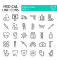 medical line icon set hospital symbols collection vector image vector image