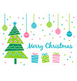 merry christmas greeting card with cute decorated vector image vector image