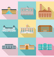 museum day italy palace icons set flat style vector image vector image