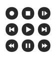 music player buttons play icon stop pause record vector image vector image