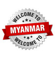 myanmar 3d silver badge with red ribbon vector image vector image