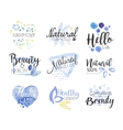 Natural Beauty Cosmetics Promo Signs Colorful Set vector image vector image