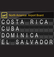 north america country airport board information vector image