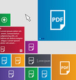 PDF Icon sign buttons Modern interface website vector image