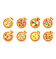 pizza top view toppings sausage cheese vegetables vector image
