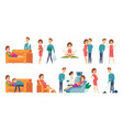 pregnant woman family couple waiting baby vector image