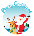 Reindeer Blowing Bubble With Santa Claus vector image